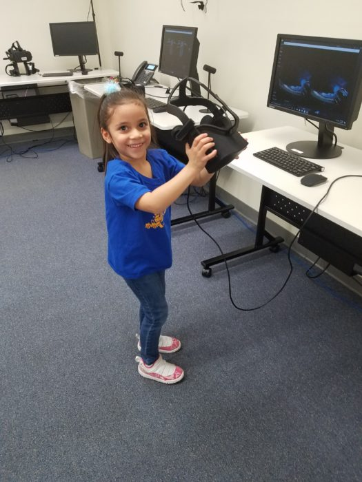 A little girl just experienced her first Virtual Reality Lesson